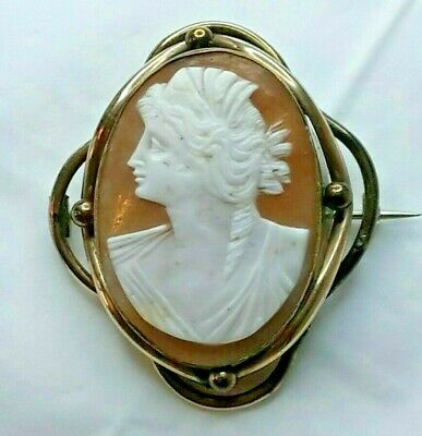 Antique Victorian Large Carved Left Facing Lady Cameo Brooch (O11)