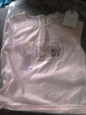 Next Baby Girls Pink Bunny I Love My Daddy Top 12-18M