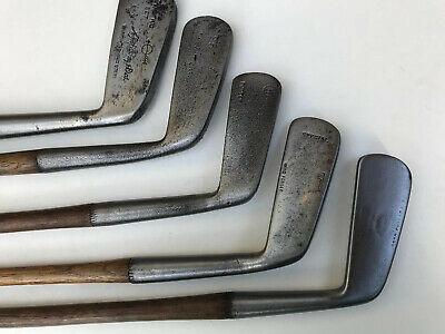 5 Hickory Shafted Putters In Neat And Tidy Condition
