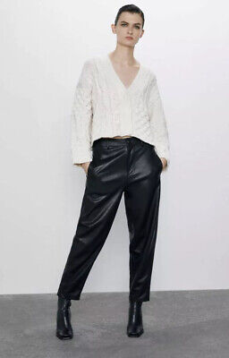 Zara bnwt sold out high waist faux leather tapered trousers size XS, fits S