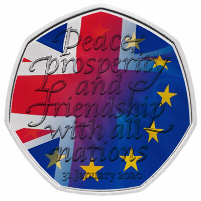 Brexit / Withdrawal from the European Union 2020 UK 50p Coloured Uncirculated