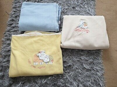 Four Cotbed Baby Fleece Blankets, Mothercare. Including Humphreys corner