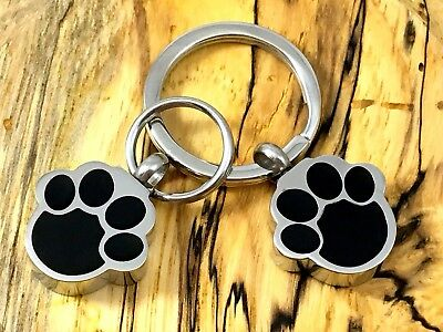 """Pet Cremation Pendant Urn Keychain 1"""" Key Ring for Ashes Dog Cat Paw Print Paws"""
