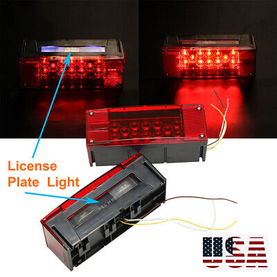 2pcs Red LED Rectangle Trailer Boat Lamp Waterproof Stop Turn Submersible light