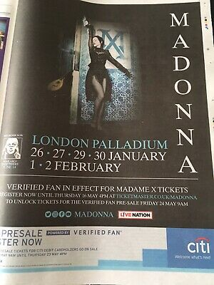 Madonna Madame X Tour Uk Full Page Press Ad London Palladium Shows Metro Paper