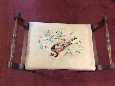 Antique piano stool  with ornate cloth seat - very old.
