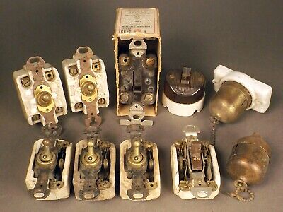 10pc Lot Vintage Switches Toggle Tumbler Pull Chain 3-way Bakelite Porcelain NOS