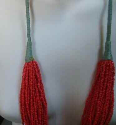 Multi- Strand Coral Color Glass Seed Bead Trade Beads RARE