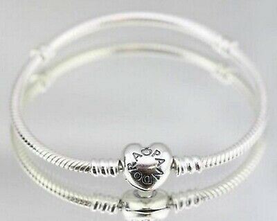 New Genuine Silver Pandora Moments Heart Clasp Charm Bracelet 590719 16cm- 23cm
