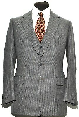 Vintage Bespoke Three Piece Suit Grey Pinstripe 1980S Size 36 R 32 W