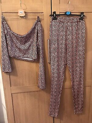 Femme Luxe Girls Matching Set Size S,Pink & Brown,Stretchy Trousers & Top Age 16