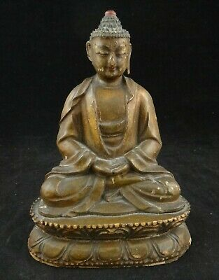 "Antique Chinese or Tibetan carved Wood Buddha on a double Lotus Throne.6 ¼"" tall"
