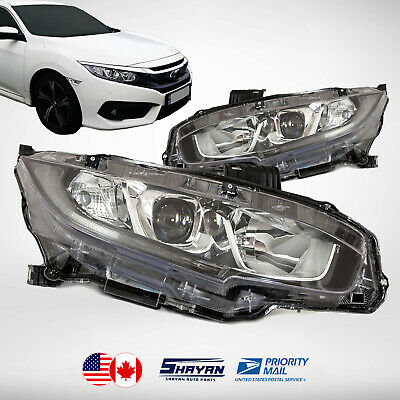 For: 2016 2017 2018 Honda Civic Headlights Lamp Pair With Led Drl Left / Right