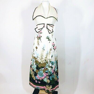 Vintage 70's Starr Boutique Wing Collared Floral Print Textured Maxi Spring Gown