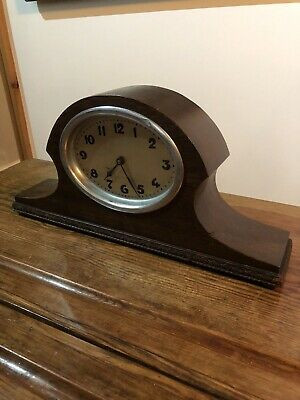 Vintage Mantle Clock . 8 Day Oak Napoleon Hat Style Art Deco.