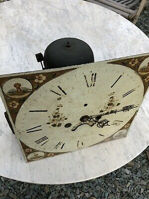 Antique Grandfather clock movement & Face , Hand Painted Late 18th Cent C:-1770s