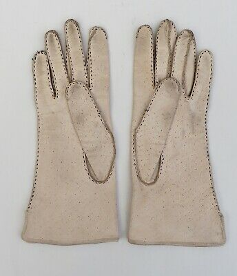 Vintage Dents cream pigskin leather gloves with black stitching,size 7