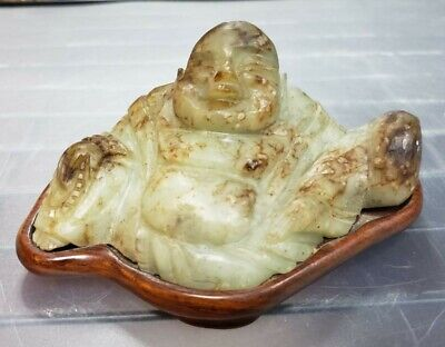 Mid 20th Century Chinese Laughing Buddha Nephrite Jade Carving on Wood Base