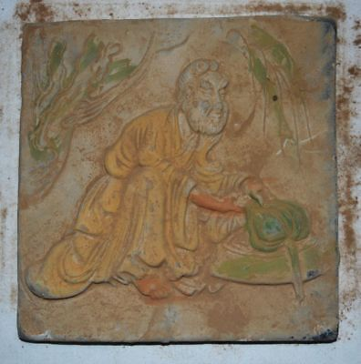 China Tang Tomb Burial Wall Painting Clay Fired Pottery Mural Brick Man Statue