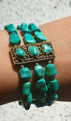 Antique Turquoise Stone Chinese Silver Gold Gilt Bracelet Bangle Hand Strung