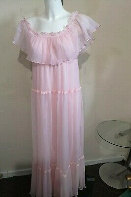 Vintage St Michael M&S Nightie Nighty  Peignoir  Negligee Pink Frilly Size 16