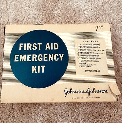 Vintage Johnson And Johnson First Aid Emergency Kit Original Box, Tin & Contents