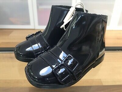 BNWT Girls Zara Patent Navy Blue Buckle Feature Ankle Boots Size 25
