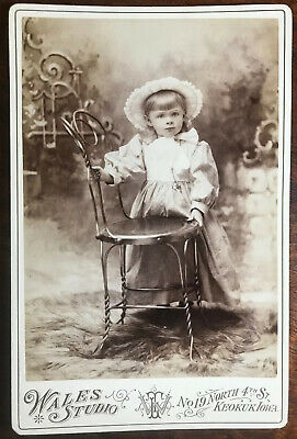 Cabinet Card Cute Little Girl w/ Bonnet By Wales, Keokuk, Iowa