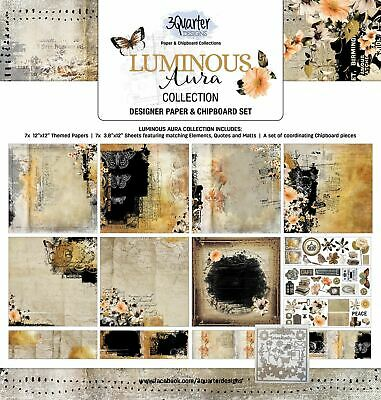 3Quarter Inside Luminous Aura Collection Paper & Chipboard Kit - Makes 6 Layouts