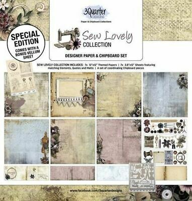 3Quarter Designs Sew Lovely Collection Paper & Chipboard Kit - Makes 6 Layouts