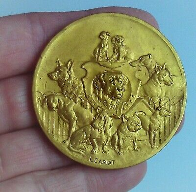 """Antique French Large 2"""" Dog Medal Gilded Bronze L Cariat Societe Canine Great!"""