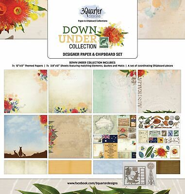 3Quarter Designs Down Under Collection Paper & Chipboard Kit - Makes 6 Layouts