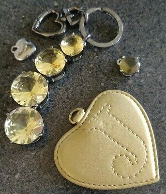 Juicy Couture~Keychain~Bag Charm~Hardware~Crystals~Heart~Mirror~Lot~RARE