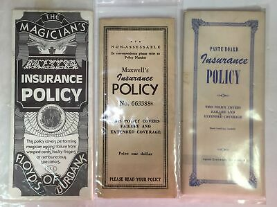 Magic Tricks :The Magician's Insurance Policy, Lot of 3 - used - Vintage
