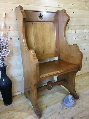 Old antique solid Wooden wood monks bench throne church pew settle hall seat