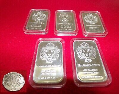 *Special Offer* 5 Silver Scottsdale 1 Oz Bar In Caps + Free Nhs Coin & New Pouch