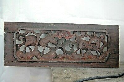 """Antique Chinese Asian Folk Carved Deer Animals Wood Panel 15"""" Old Red Paint 3D"""