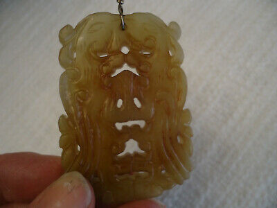 Antique Pendant Chinese Translucent Celadon Jade Carving DOUBLE DRAGON LIzard