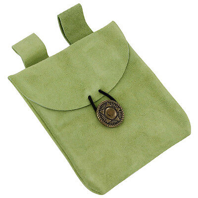 Medieval Growth of Life Green Suede Leather Renaissance Belt Pouch