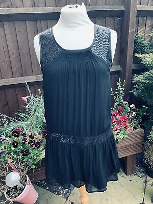 NEXT Girls Dress Black Sequins Sleeveless Tunic Top Age 14 Special Occasion