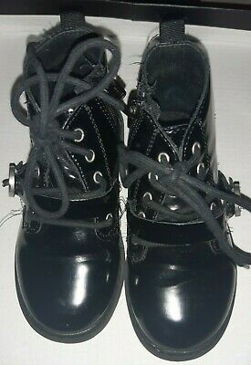 Zara Kids girls, Black Patent Boots, lace up, Size 24 toddler, winter shoes baby