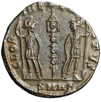 ROMAN SOLDIERS Coin of Caesar Constantine II RARE Heraclea Mint & High Grade