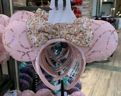 Disney Parks Minnie Mouse Pink Gold Sequined Headband With Bow New with Tag