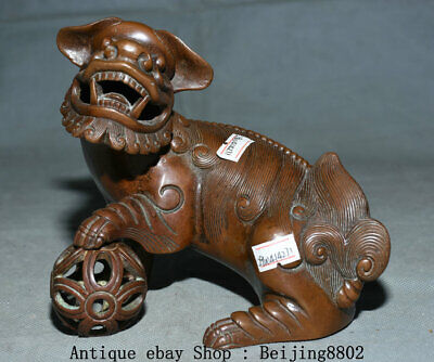 """6.4"""" Old China Copper Dynasty Palace Feng Shui Foo Dog Lion Ball Statue"""