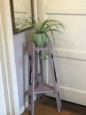 Painted Wooden Arts And Craft Style Jardiniere Plant Stand