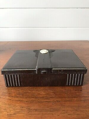 Vintage Bakelite Art Deco Two Set Playing Card Box With Cameo Decoration