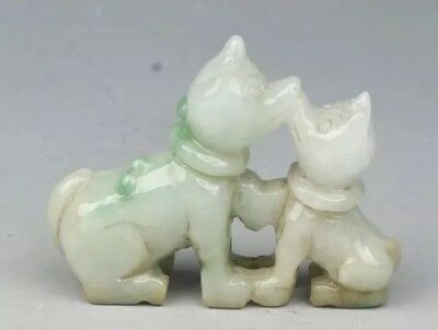 Chinese Hand-carved Jadeite Jade Pair of Dogs Carved Statue