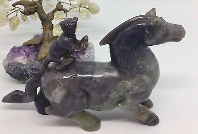 Antique Chinese Jade Horse with Monkey Carved Statue
