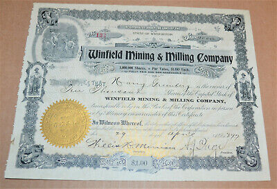 Winfield Mining & Milling Company 1897 antique stock certificate