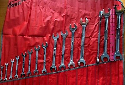 """NOS SNAP-ON TOOLS 15 pc STANDARD OPEN END WRENCH SET W/CASE (1/4–1-1/4"""")@@@@@@@@"""